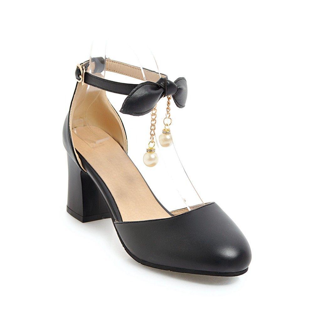 Kadın sandalet yaz siyah beyaz kapalı ayak bileği kayışı tıknaz blok topuk gelinler düğün sandalet ayakkabı