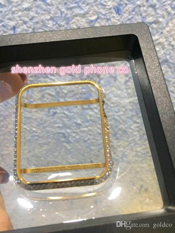 newest cheapest factory price metal with real gold plated with real diamond crystal case bumper frame case for apple watch bumper 38mm&42mm