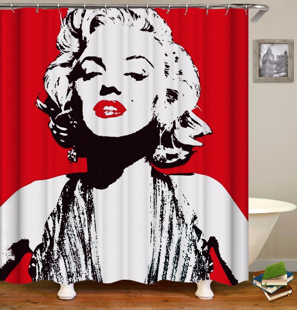 Dropshipping 3D Shower Curtains Marilyn Monroe Pin Up Girl For Bathroom Waterproof Fabric Bath Customized Cheap