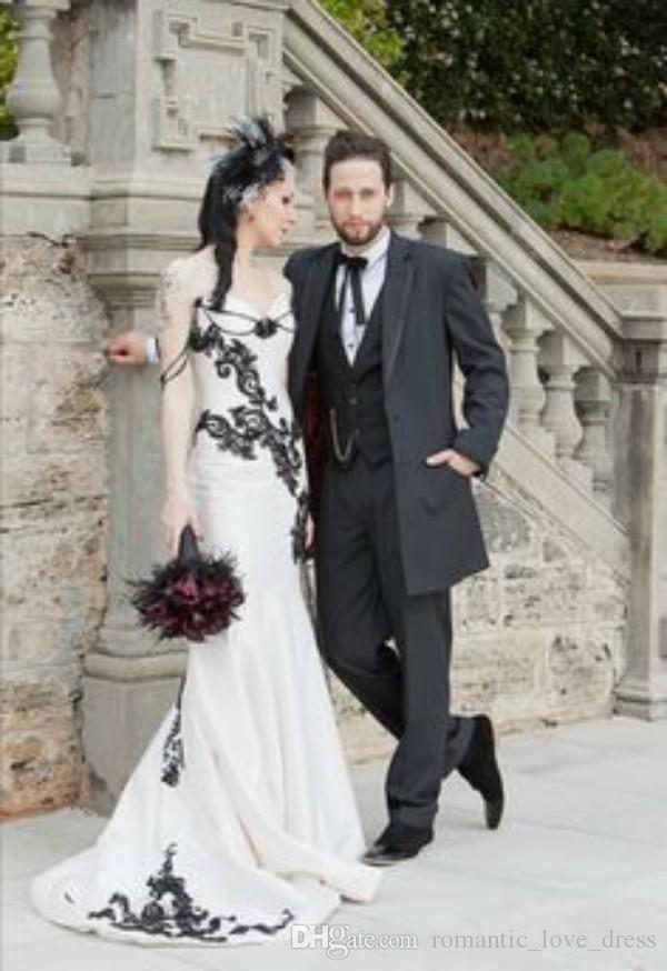compre vestidos de novia blanco y negro gótico 2019 nuevo apliques