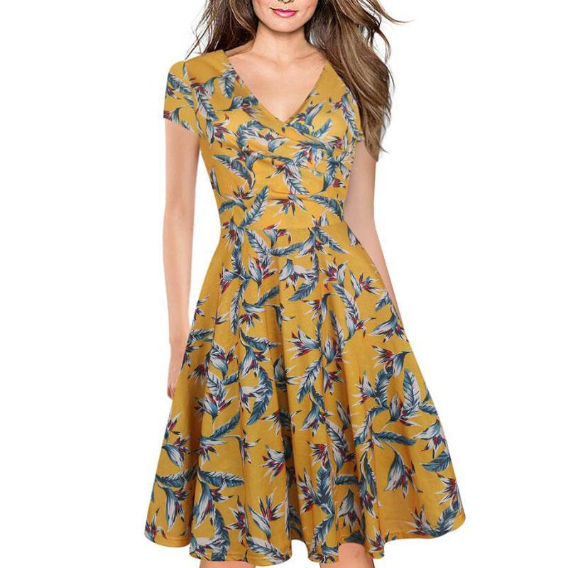 d7e77ab9310d9 Women Summer Fashion Knee-length Dress Hot Sale V Neck Half Sleeve  Patchwork Print A Line Dresses Elegant Female Vestidos