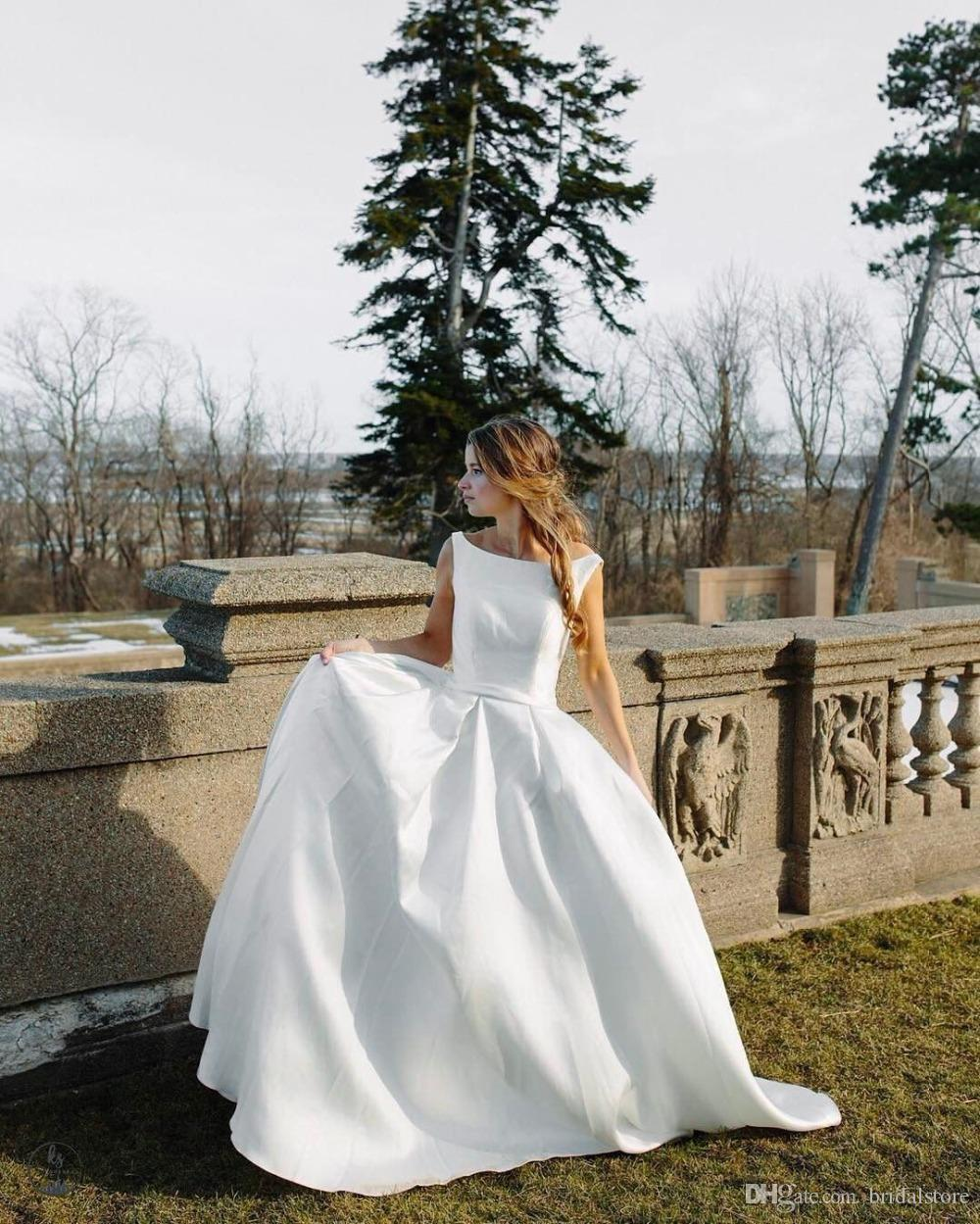 9eca69d941e Discount Simple Boat Neck Summer Country Garden Wedding Dresses For Bride  Puffy Button Back Satin Bridal Gowns Cowgirl Modest Plus Size Rustic Ideas  ...