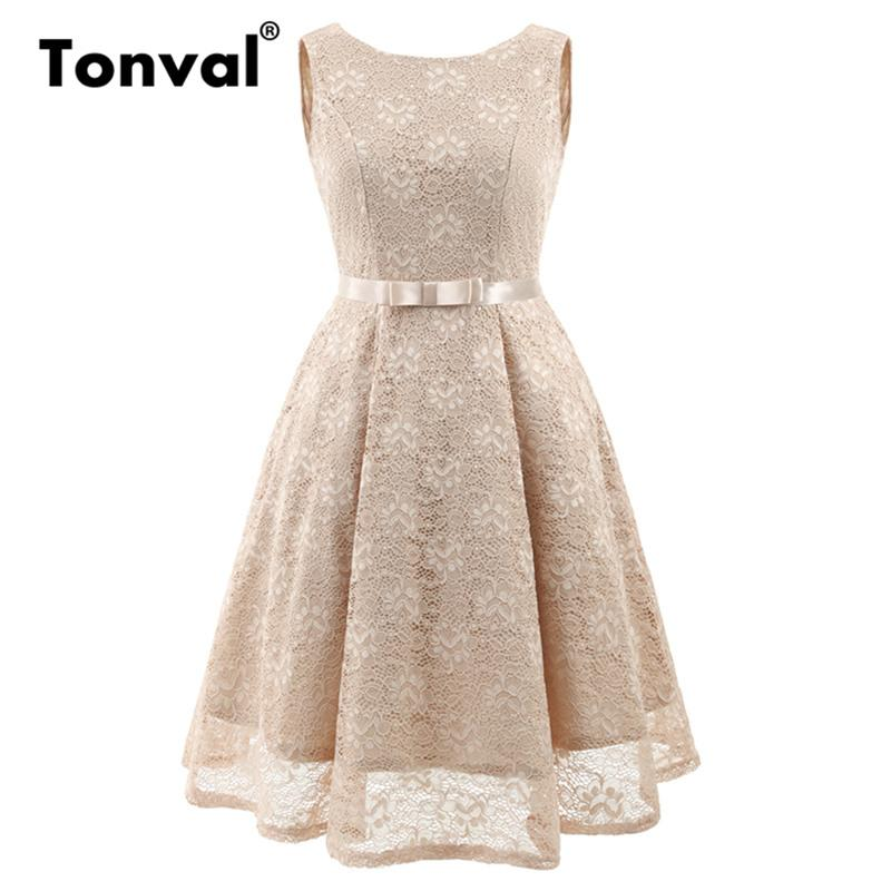 2a41617a184d 2019 Tonval Backless Sexy Sleeveless Lace Dress Retro Women Bow Party Summer  Dress 2018 Khaki Vintage Female A Line Dresses From Piterr