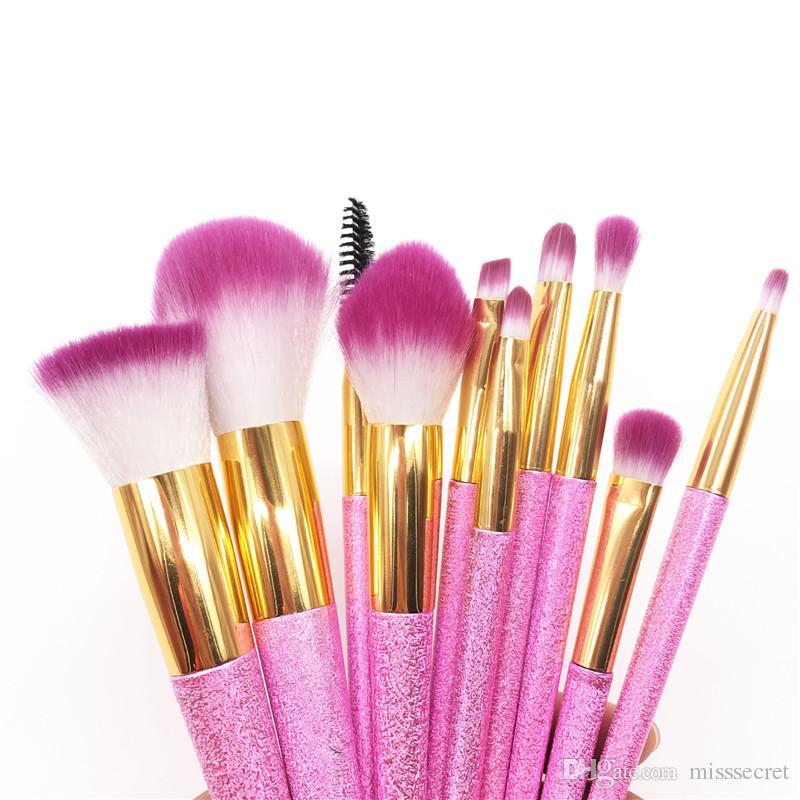 10 Unids / set Pinceles de Maquillaje Brillo Rosado Set Fundación Profesional Bling Bling Pinceles de Maquillaje Sombra de ojos Pestañas Corrector Maquillaje Pinceles