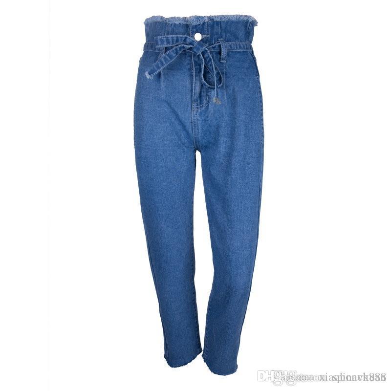 Compre 2018 Las Mujeres Más Vendidas Jeans Nuevos 9 Minutos Pantalones  Brote De Flor Cintura Alta Borde Borde Cinturón Pantalones Vaqueros Moda  Jeans Ventas ... 45b6bca6be10