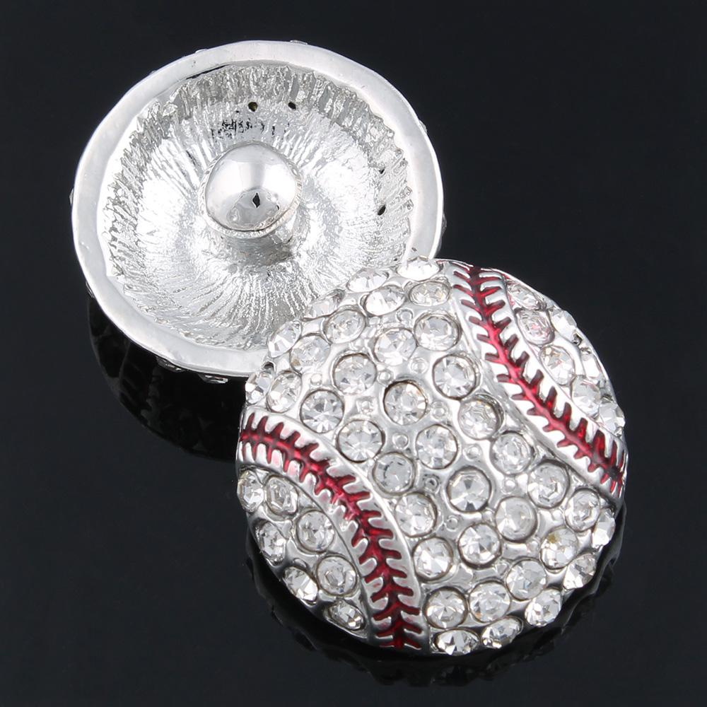 10 pçs / lote Hot Sale Baseball De Cristal Snaps Botão Fit 18mm Botões de Pressão De Metal Jóias Moda Encantos Pulseiras Para As Mulheres