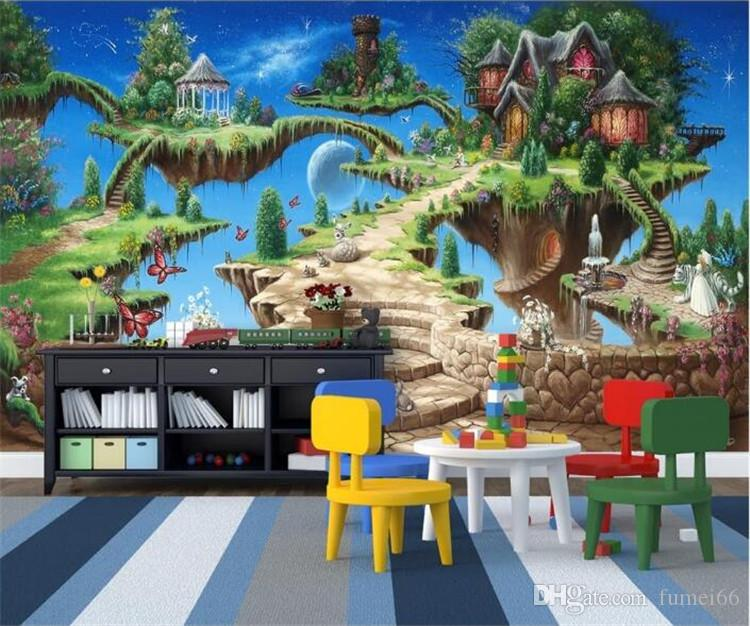 Photo Wallpaper 3D Stereo Cartoon Fairy Tale Castle Mural Kid's Bedroom Living Room Amusement Park Backdrop Wall Painting Fresco