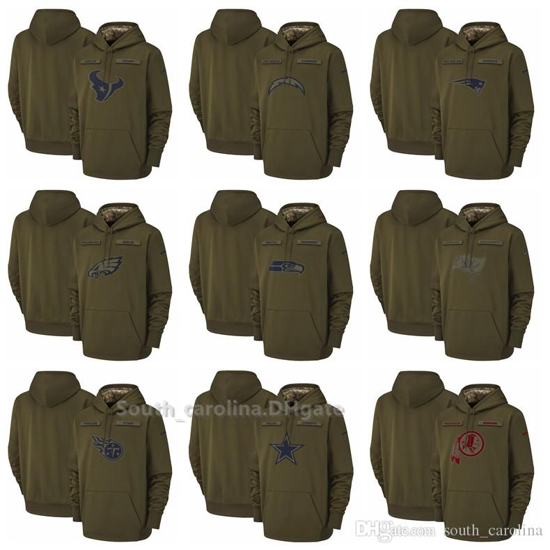 premium selection f2f32 fa210 Men Seattle Seahawks Dallas Cowboys Buccaneers Titans Washington Redskins  Salute to Service Sideline Therma Performance Pullover Hoodies