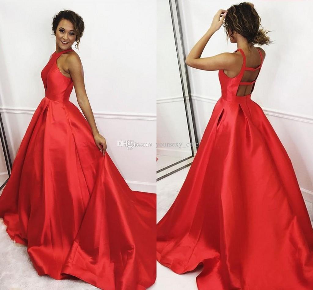 266d5a48e Vestidos Para Madrinhas Vestido De Cetim De Cetim Vermelho Vestidos De  Baile Vestidos De Baile Sem Mangas Simples Vestidos De Graduação Longa  Vestido De ...
