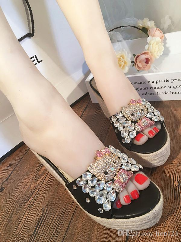 e3210bc021c539 Bohemia Wedges High Heels Sandals Fashion Hot Seller Europer Diamond Heels  Sandals Wedding Ultra High Heels Shoes Transparent Sandals Transparent  Sandals ...