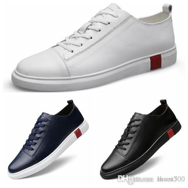 9f82c0bfb784 2019 New Calfskin Men S Shoes Fashion Casual Shoes Feel Free To Match  Casual White Black Flat Sneakers Canada 2019 From Boost500