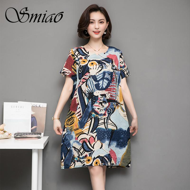 c7d3257aca6e5 Smiao 2018 Plus Size Linen Dresses Summer Women Casual Dress Small O ...