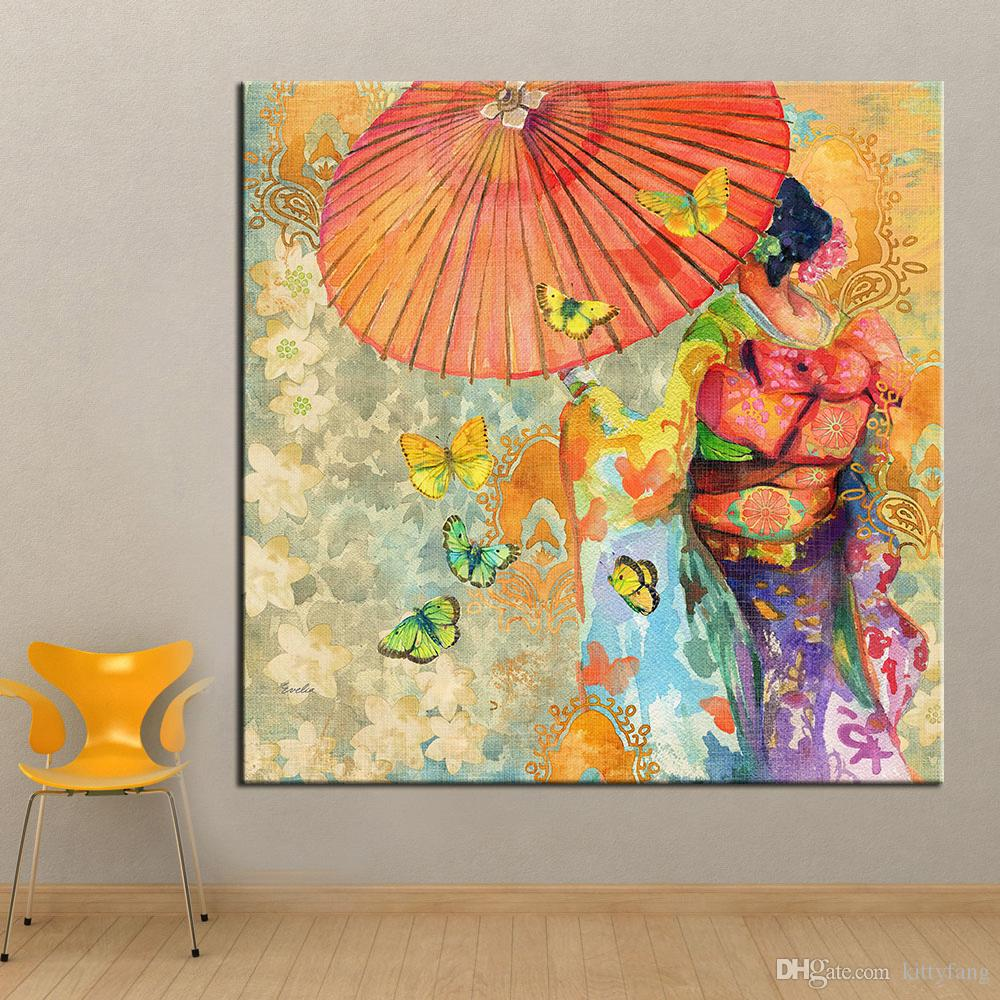 2018 1 Panel Wall Art Japanese Kimono Oil Painting On Canvas Wall ...