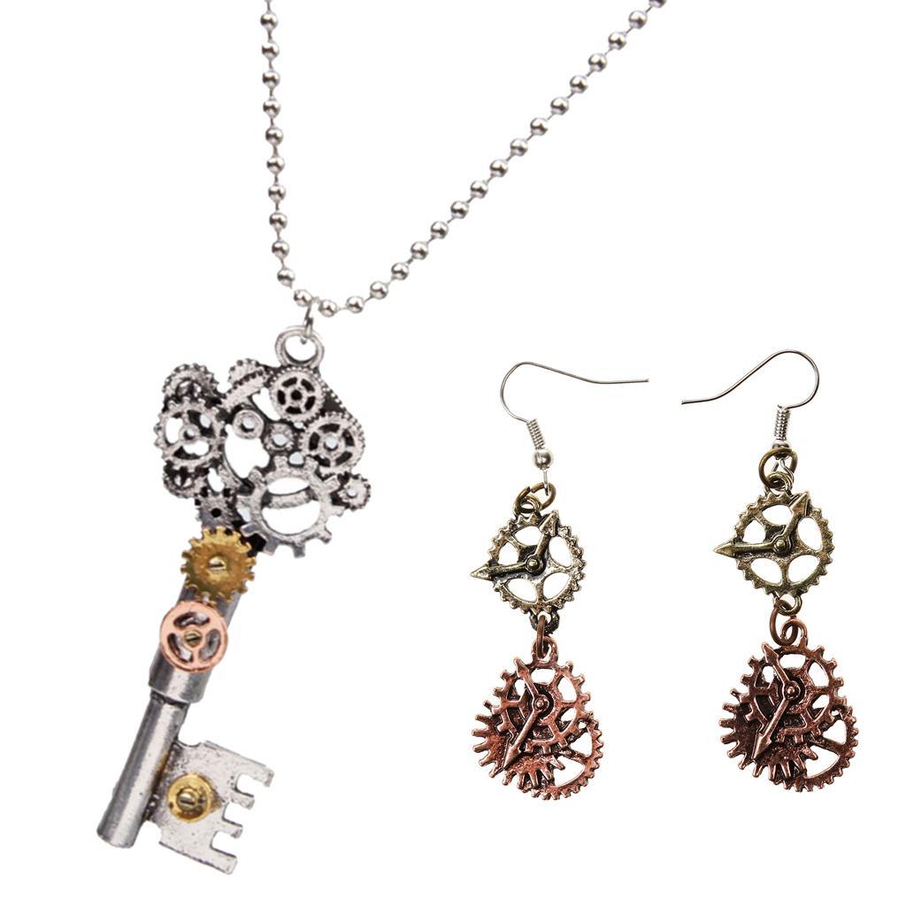 b0edc7a82e306 Antique Silver Skeleton Key Watch Clock Gear Steampunk Necklace And Earrings
