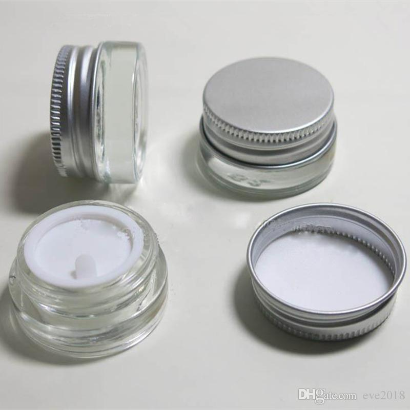 5g Leeres Glas Sahneglas mit Aluminiumdeckel, 5ml Weithals Kosmetikbehälter, Augencreme Kosmetikverpackung Flasche LX1196