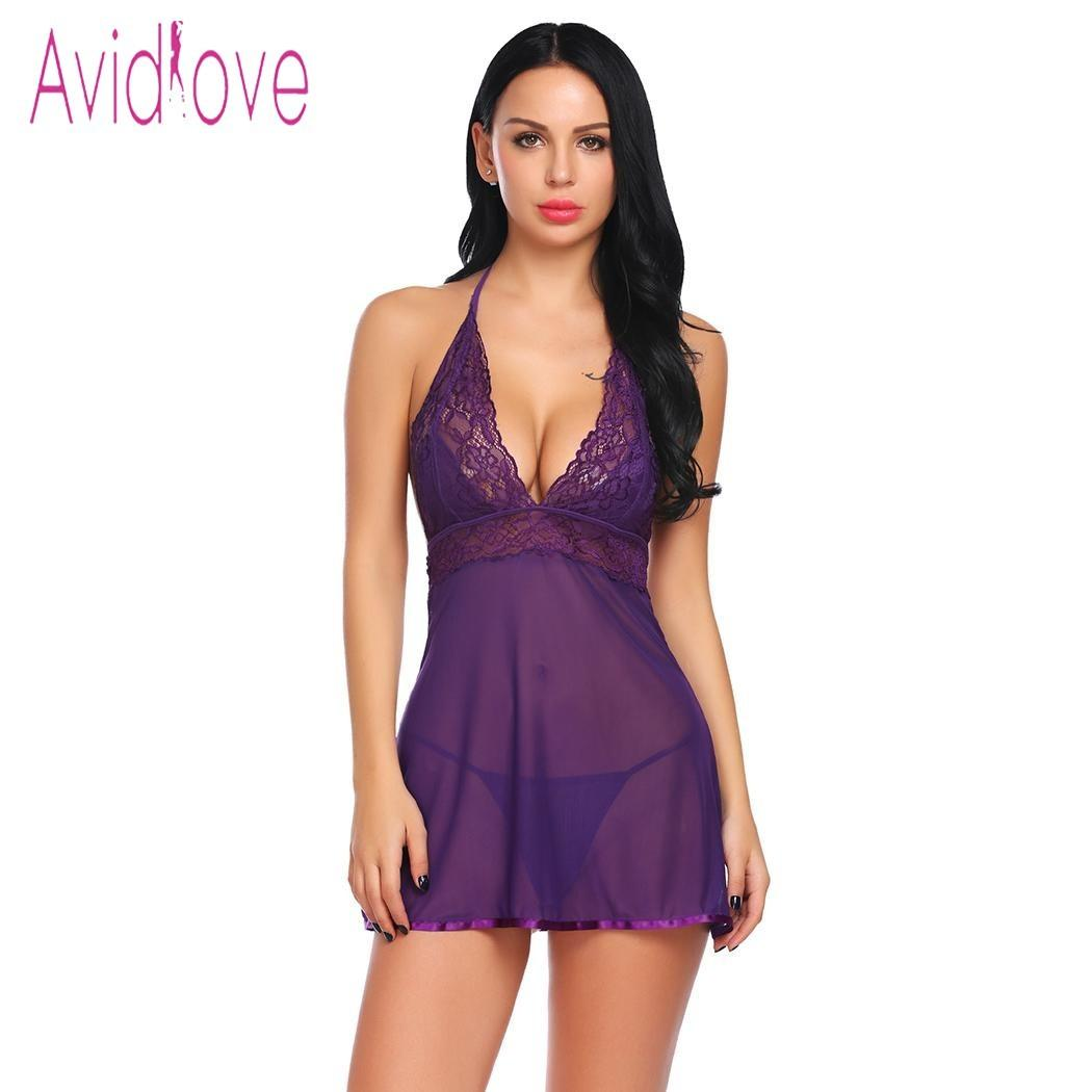 32abc08536d Avidlove 2018 New Transparent Lace Lingerie Sexy Hot Erotic Chemise Women  Mini Babydoll Dress Underwear Nightwear Sex Costume Y18110504