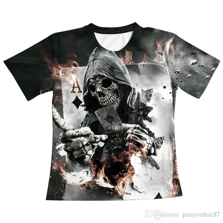 6 Sizes factory new Human skeleton 3D digital print short sleeved men  T-shirt slim Lovers bottoming shirt A0301