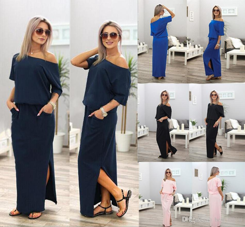 86f7d9aef1 Women Boho Maxi Dress Sexy Summer Short Sleeve Side Slit Loose Evening  Party Long Beach Dress With Pocket LJJO4423 Evening Dresses Plus Size Teen  Party ...
