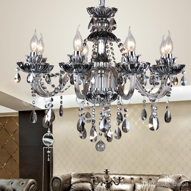 High Quality Smoked K9 Crystal Chandelier Re Chandeliers Light Res De Cristal Led Villa Lamp Round Sphere
