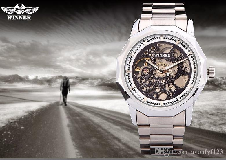 Победитель Новая Мода Золотые Часы Стильный Стальной Мужчины Мужские Часы Классический Механический Self Ветер Запястье Платье Скелет Часы Подарок A527
