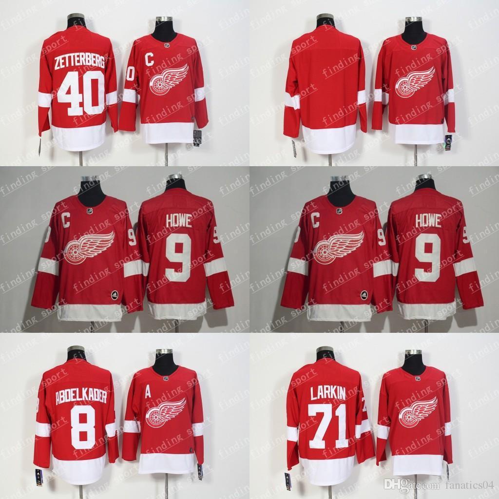 the latest 9ee3f a4a85 2018 New Detroit Red Wings Jersey 9 Gordie Howe 71 Dylan Larkin 40 Henrik  Zetterberg 8 Justin Abdelkader 14 Gustav Nyquisi Hockey Jerseys