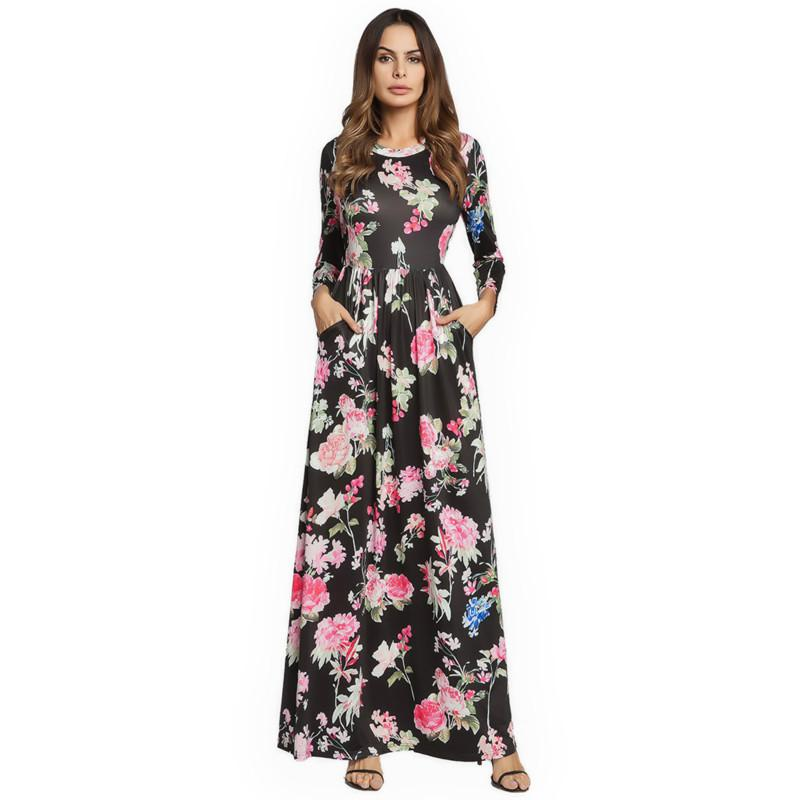 fad3d3e5b62 2018 Spring Maxi Long Dress Vintage Long Sleeve Printing Floral Casual Dress  Elegant Large Swing Dress Vestidos For Women Cocktail Long Dress Dress For  ...