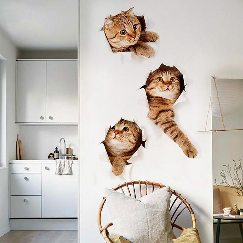 3D Cats Wall Sticker Toilet Stickers Hole View Vivid Dogs Bathroom Home Decoration Animal Vinyl Decals Art Sticker Wall Poster free shipping