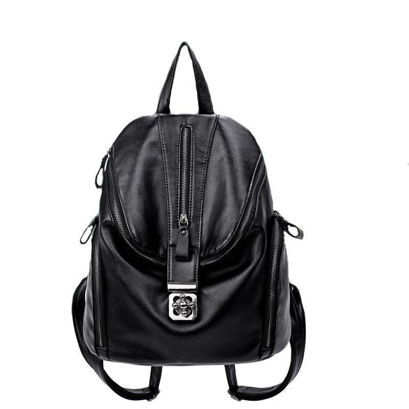 b617ee53ef55 Backpack New Arrival Women Lock Small PU Soft Leather Ladies ...