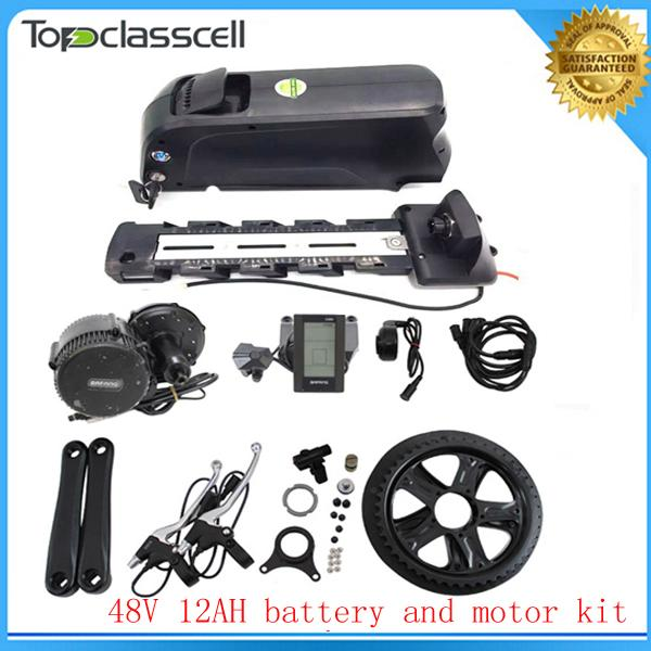 BBS02 8fun /bafang 48v 750w mid drive motor ebike kit+Electric Bicycle Battery 48v 12ah ebike battery For Samsung cell