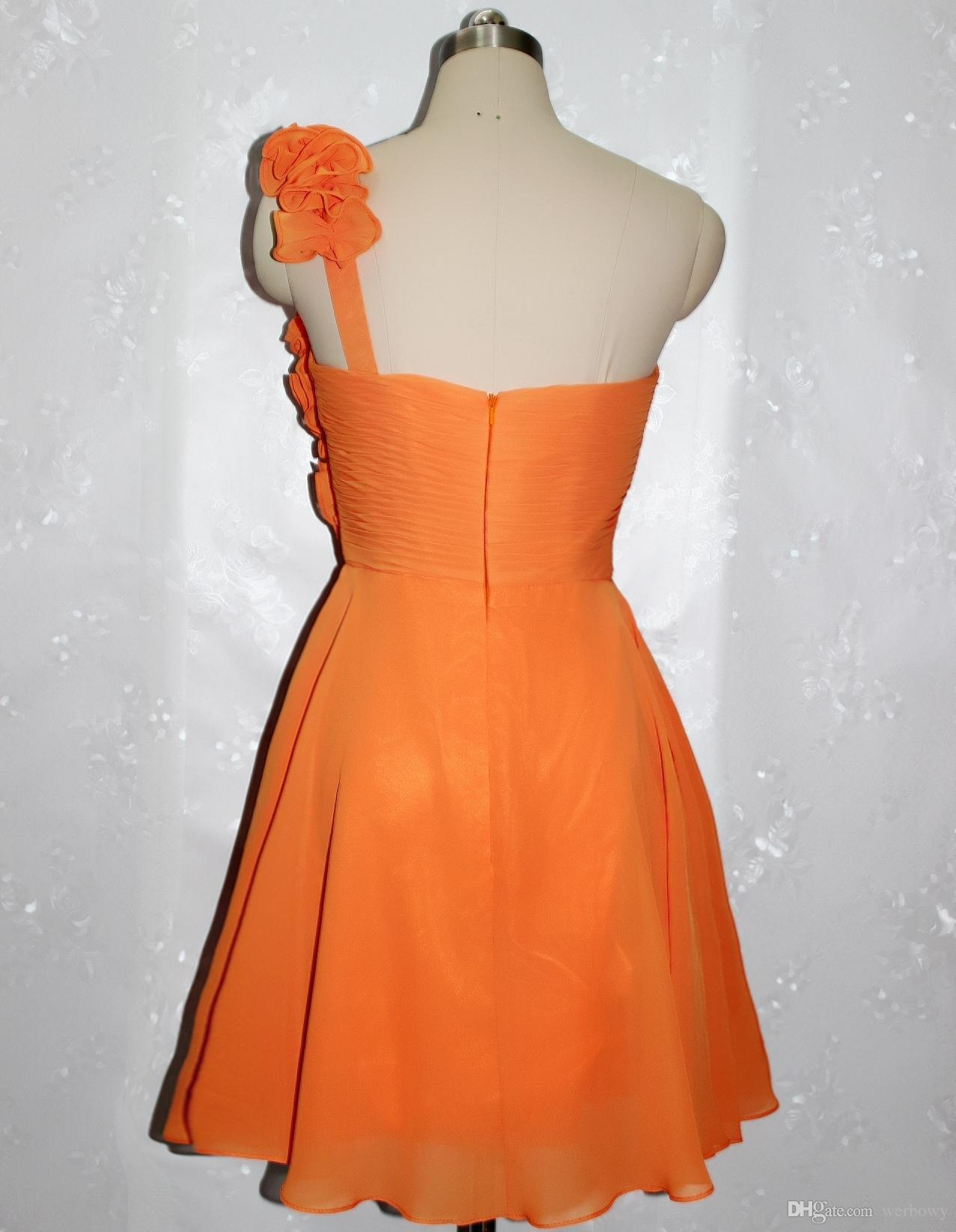 Hot Sale Orange Floral Embellished One-Shoulder A-Line Cocktail Dresses Beautiful Homecoming Gown Chiffon Ruched Short Prom Dresses HY1600