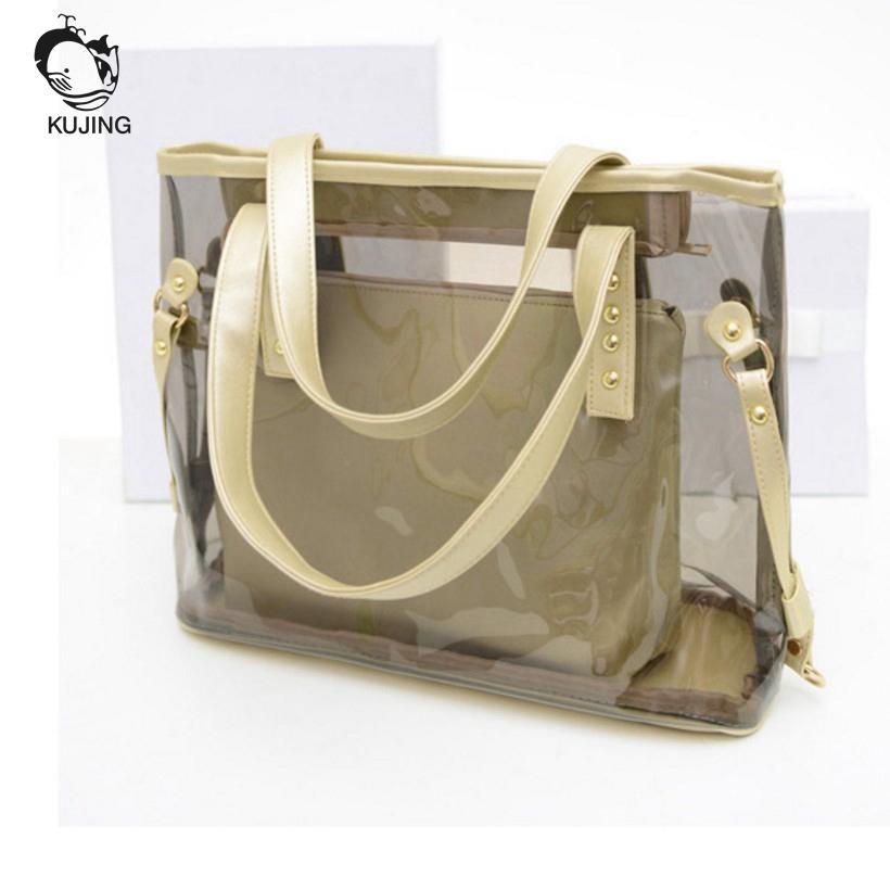 KUJING Women Fashion Bag Quality Transparent Women Handbag Cheap Shopping Women Shoulder Bag Hot Travel Casual Female Beach Bag