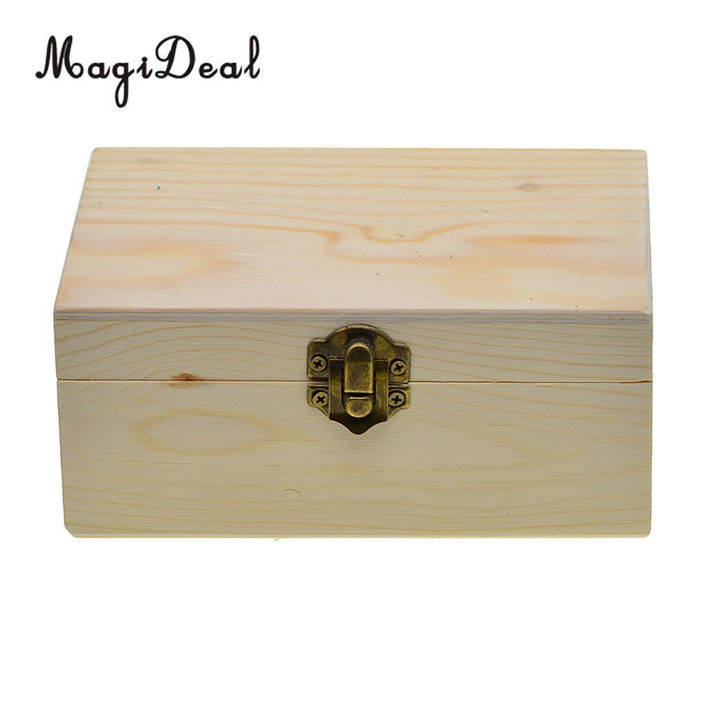 rectangle wooden storage box plain wood box jewelry wedding gift makeup  cosmetic small gadgets gift diy craft with lid