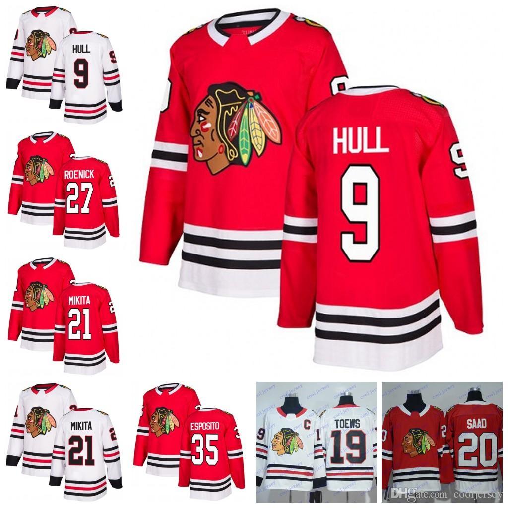 timeless design 82eb8 709d9 Custom Chicago Blackhawks #9 Bobby Hull 27 Jeremy Roenick 35 Tony Esposito  21 Stan Mikita Retro Hockey Jerseys White Red