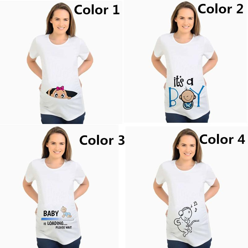 11bc8d9dc9 Women's T-shirts Slim Cartoon Maternity Tops Baby Is Loading Funny  Pregnancy T Shirts Cotton T-shirt for Pregnant Women Tees 2XL
