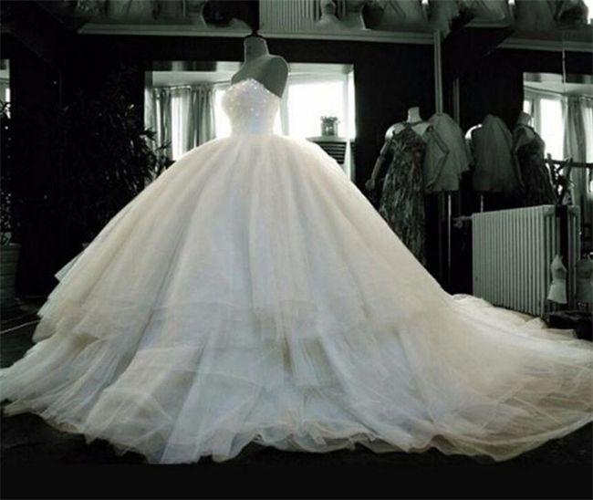 Bling Ball Gown Wedding Dresses 2018 Chapel Train Plus Size ...