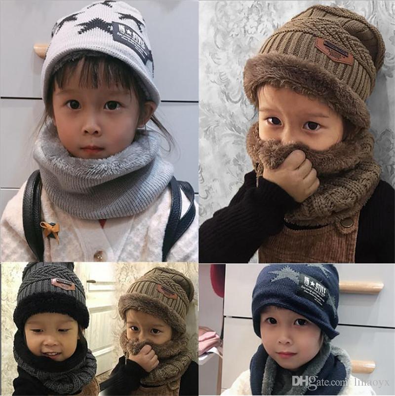5544b2467004 Acheter 2018 Bébé Chapeau Écharpe Corail Polaire Chapeaux Pour Garçon Fille  Coton Printemps Automne Hiver Enfants Bonnets Enfants Photographie Props  To979 ...