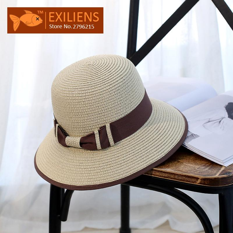 7eaf2187 EXILIENS 2017 New Lady Fashion Summer Brand Women's Sun Hats Woman Cap Beach  Top Straw Holiday Mix Brim Shade Sunscreen Girl Hats And Caps Fedora Hats  For ...