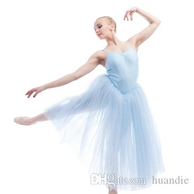 51cc3a8e1 2019 New Professional Pink Green Blue Dance Veil Dress Adult Ballet Dance  Costumes Stage Costumes Long Tutu Dress Ballet Show Performance Dress From  Huandie ...