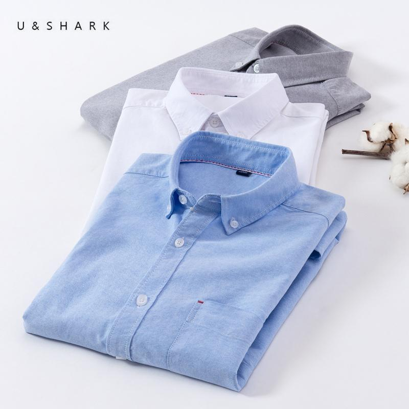 b3f3923bad3 2019 U SHARK 2018 Summer 100% Cotton Oxford Shirt Men Short Sleeve Casual  Shirts Male Brand Clothing Mens Dress Shirts Plaid Striped D18101305 From  Yizhan05 ...