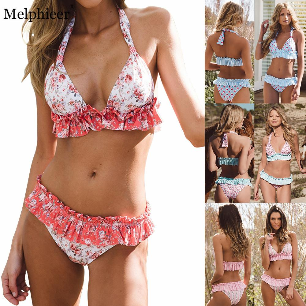 Acquista Bikini 2018 Womens New Bikini Set Ruffle Printed Skirt Costume Da  Bagno Push Up Imbottito Swimwear Beach Biquini Swim Costume Da Bagno Donna  A ... b1c45c211c67