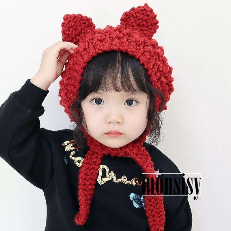 2019 Monsisy Winter Baby Earmuffs Hat For Boys Girls Cap Kids Warm Wool  Knitted Beanie 2 8 Years Children Cat Ear Crochet Touca Cap From Annuum edd742f81143