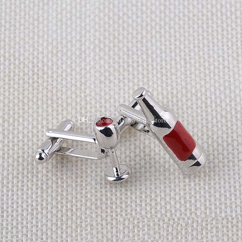 Vintage Unique Design Red Wine Bottle & Wine Glass Shape Men Cuff Links Business Cufflinks Wedding Groom Gift Fine Quality