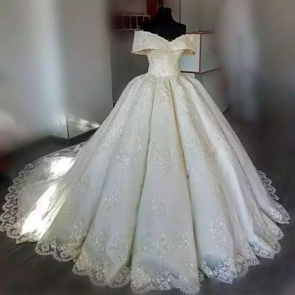 Omuz kapalı Gelinlik Tam Aplike Dantel Balo Kolsuz Sayısı Tren Gelinlik Custom Made Couture Tül Gelin Elbise