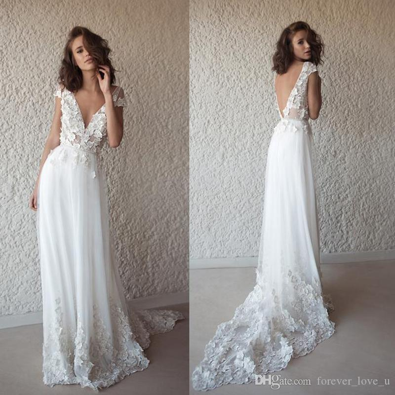 bba34c1dc8e Discount 2019 Sexy Beach Wedding Dresses Deep V Neck Capped Short Sleeves  Backless Lace Appliques Illusion Top Country Boho Bridal Gowns Sweep Train  ...