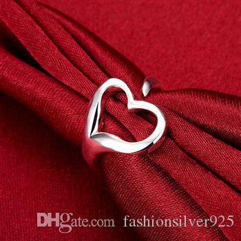Partihandel - - Retail Lägsta pris Julklapp 925 Silver Rings Öppna Hjärtringar Europa och Silver Hjärtformade Ring Ornament R009
