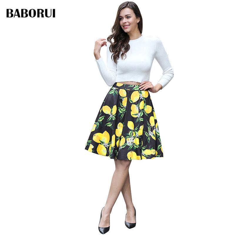 7d52f4fb6 Baborui Fashion Women Skirt High Waist Pleated Knee Length Vintage A ...