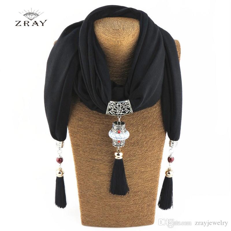 f2115829a8 Ethnic Women Scarf Necklace Fashion Ceramic Bead Tassel Pendant ...
