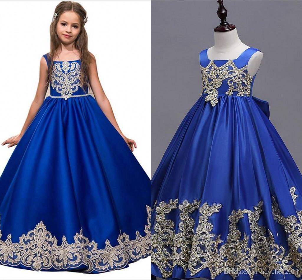 Royal Blue Flower Girl Dresses For Prom Party A Line Lace Appliques ...
