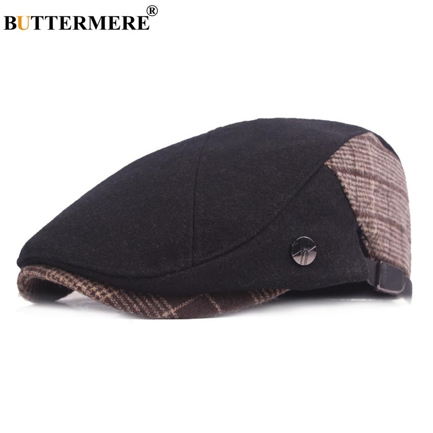 2b8ce7af8b8 2019 BUTTERMERE Flat Cap Berets Men Winter Patchwork Man Cabbie Directors  Cap For Men 2018 Adjustable Wool Tweed Cap And Hats From Fotiaoqia