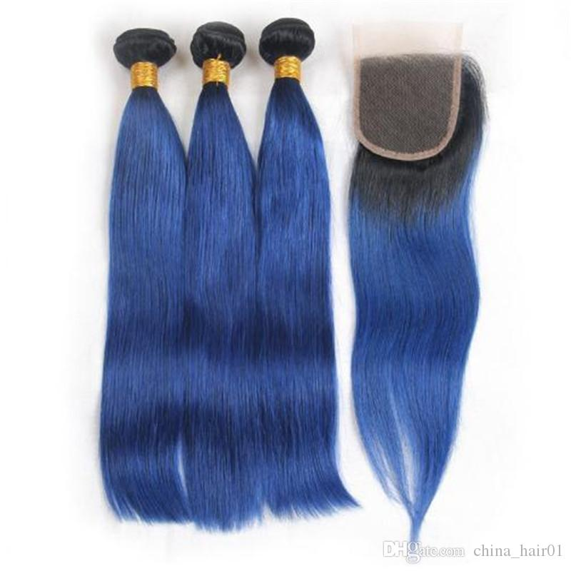 Brazilian Ombre Blue Human Hair 3 Bundle Deals With Closure Straight #1B/Blue Two Tone Ombre 4x4 Lace Closure with Virgin Hair Weaves
